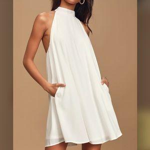 Love of Mine White Halter Swing Dress